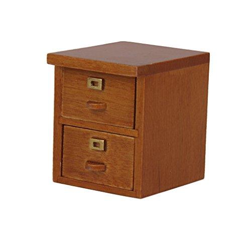 Puppenhaus Miniatur-Holz 2 Schublade Aktenschrank