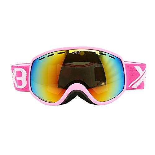 Amody Skibrille Skibrille Kinder Doppelschicht Anti-Fog Anti-UV-Brille Rosa