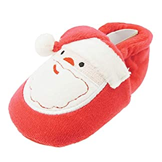 Gorro de Papá Noel con pompón para bebé, diseño de botines de bebé, color rojo