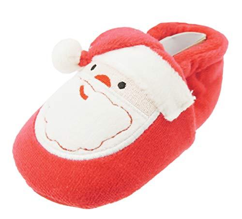 Baby Mädchen Jungen Kinderwagen Padders Booties Schuhe Rot festliche Weihnachtsmütze (Bootie Pom)