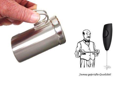 Milchtopf ohne Deckel 475ml + James Premium® Milchaufschäumer Turbo Schwarz neu mit Speed Ecoprob und Magnet