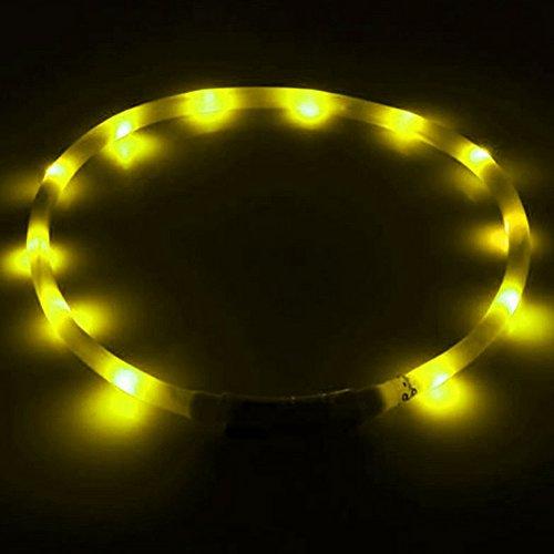 UC-Express Hundehalsband Led Gelb Leuchthalsband Hunde Sicherheitshalsband aufladbar USB