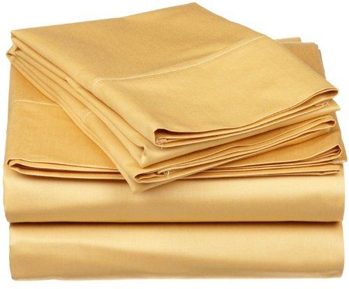 Superior - Set di lenzuola, 198 x 203 cm, a 530 fili, cotone, oro, 4 pezzi