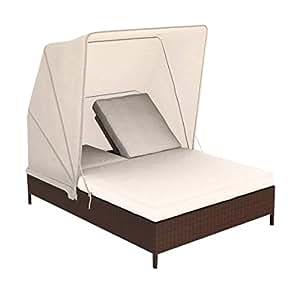 artelia bain de soleil r sine tress e avec auvent noralda chocolat jardin. Black Bedroom Furniture Sets. Home Design Ideas
