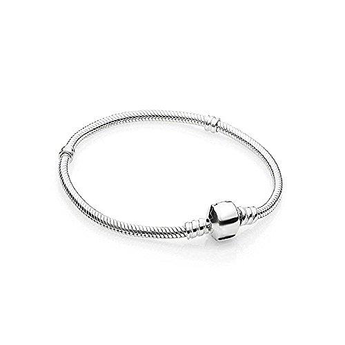 AKKI Beads Bracciale Acciaio Inossidabile Perle braccialetto Charms Bead Argento Original strass Pand NEU e acciaio inossidabile, colore: Armband.19cm, cod. AKB-001-10