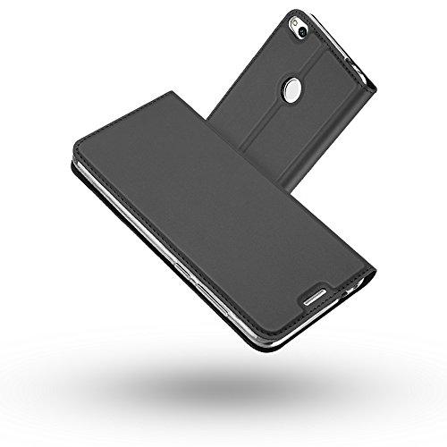 Huawei P8 Lite 2017 Hülle,Radoo® Premium PU Leder Handyhülle [Ultra Slim][Kabelloses Aufladen Unterstützung] Brieftasche-stil Magnetisch Folio Flip Klapphülle [Transparenter TPU Stoßfänger] Etui Brieftasche Hülle [Karte Halterung] Schutzhülle Tasche Case Cover für Huawei P8 Lite 2017 (Schwarz grau) (Lite Schwarz Räder)