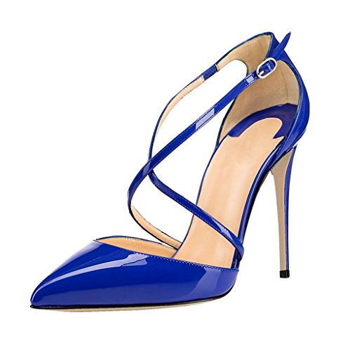 EDEFS - Escarpins Femme - Bride Cheville - Cuir Brillant Synthétique - Sexy Talon Aiguille - Chaussures Club Soiree Bleu
