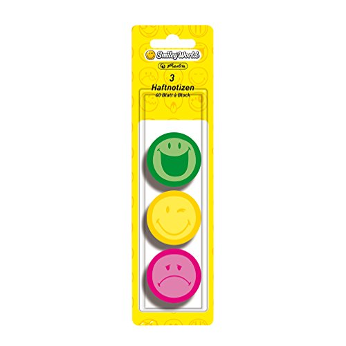 Herlitz Haftnotizblock Smiley World, rund, 3-er Pack, 40 Blatt, neon grün/-gelb/-pink