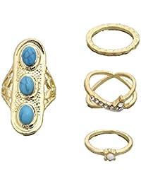 ca650501f115 SonMo 4Pcs Set Bisuteria Mujer Cuero de Anillo Perlado Azul Turquesa Azul  Círculo Doble Anillo Vintage de Chapado en Oro Anillos…