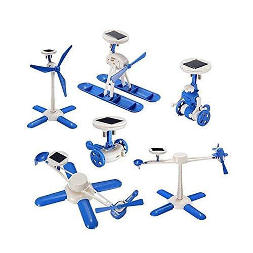 Jasnyfall Kinder DIY Spielzeug für Kinder Geburtstagsgeschenk solarbetriebene Roboter kit Auto Boot Fan Modell solar pädagogisches Spielzeug 6 in 1 White & Blue Solar-auto Kits