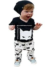 MIOIM® 2 unidad Ropa conjuntos para bebés infantil camiseta impresa + pantalones de algodón ropa de verano