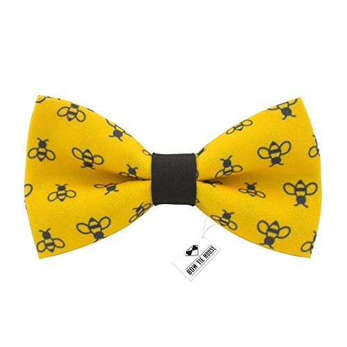 Bow Tie House Honey Bees bow tie pre-tied yellow-black color unisex pattern, by (Medium, Yellow Bees) - Pretied Bow Tie