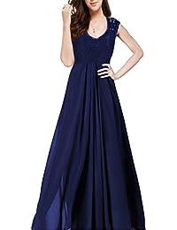 Femme Robe Mousseline Longue Sans Manche Robe Demoiselle d'honneur Col en V Profond Elégante Vintage Casual Maxi Robe Longue Soirée Dentelle Grande Taille Noir Bleu