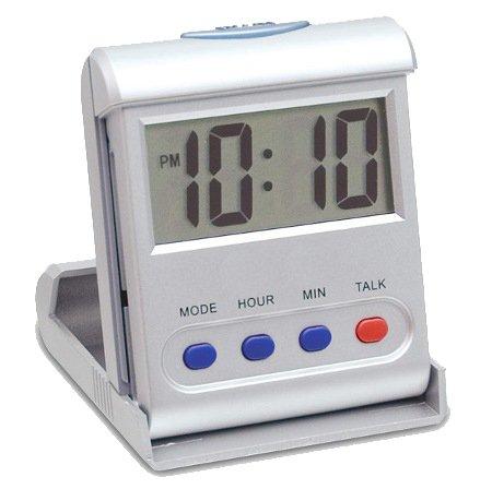 CursOnline Mini Reloj Digital parlante de Despertador Italiano ergonómico de Viaje para no apoplejía deficiencia auditiva Mayores