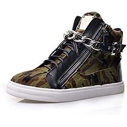 Lace-up Bota de cuero de metal de la cadena de hombres y mujeres botas de camuflaje punk zapatos casuales zapatos de pareja ( Color : Silver , Size : 43 )