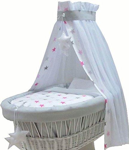 Babymajawelt® Ersatz Bett Set für Stubenwagen - 7 Teile, Bettwäsche, Nestchen, Himmel, Steppbett, Spannbetttuch (ohne Stubenwagen) (BIG Stars rosa)