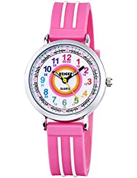 Reloj Deportivo Relojes de Pulsera de Cuarzo analogico para ninos Rosa Easy-Read Impermeable KW110-NEW Reloj Nina Chica Infantil