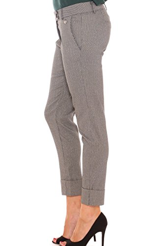 Pantalone chino donna in jersey super stretch micro fantasia lurex Grigio