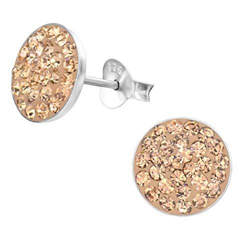 Kristall Ohrstecker Ohrringe 925 Silber Rosegold flach rund 10mm für Damen und Mädchen - Kristall Ohrstecker