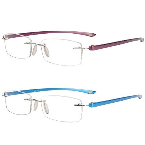 LianSan Unisex Lesebrille Mode Männer Frauen randlose Leser Brille Lesen Brillen 2 Pack L5017 (lila-blau, +2.00)