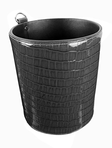 Round Dustbin Small Sized Crocodile Print (Black) New Arrival Best Selling Premium Quality Lowest Price Modern Look Waste Basket, Lightweight Trash Bin, Durable Garbage Bin, Perfect Workmanship with Skilled Stitching, Great Way to Accent Your Office in High End Style, Get Rid of Trivial Debris/Paper Waste from Your Desk & Give it a Classy Make Over, Much Needed Addition to Organise Your Office, Classy, Beautifully Finished, Ideal for Home, Office, Bedroom, Study, Conference Room