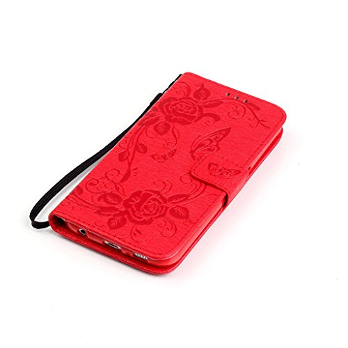 CareyNoce iPhone 6S/6 Plus Coque,Plume Campanula Papillon Fleur Retro Painted Embossed Pattern Conception Flip Housse Etui Cuir PU Coque pour Apple iPhone 6S Plus iPhone 6 Plus (5.5 pouces) -- Rouge C T16