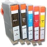 vhbw Cartuchos de tinta sin chip, SET de 5 CARTUCHOS DE TINTA de HP 364-Serie para Deskjet 3070, 3070a etc.