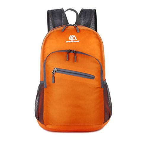 Packable Daypack,18L Lightweight foldable Backpack bag for men and women outdoor Sport Camping Hiking Cycling Travel and school Daily Usage (Orange)