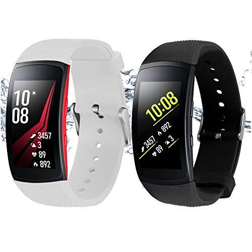 """Rukoy Correas Samsung Gear Fit 2 Band/Gear Fit 2 Pro [Paquete de 2: Negro + Blanco], Accesorios para Baterías de Repuesto para Samsung Gear Fit2 Pro SM-R365 / Gear Fit2 SM-R360 Smartwatch (5.9\""""-7.5\"""")"""