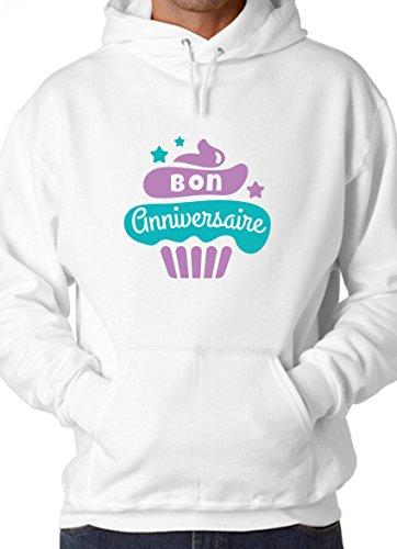 BlackMeow Bon Anniversaire Cupcake Design White Unisex Hoodie - Small
