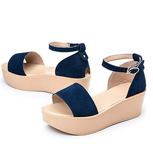 Impermeáveis Estilo Aberto Cunha De Elegantes De azul Salto Romano Cinto Sandálias Camurça Verão Toe Grossa Senhoras Chinelos Fivela Sola 0wtwCqT