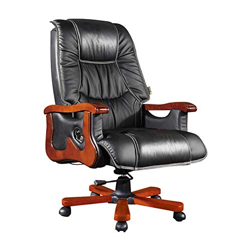 XUE Boss Chair, Home Reclining Solid Wood Executive Chair Office Study Computer Chair Simple Seat Swivel Chair 135°Degrees Reclining for Home and Office -