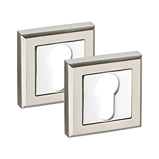 Square Euro Cylinder Escutcheon Keyhole Covers with Dual Chrome Finish - Pair
