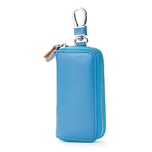 Jia Qing Leder Mini Multifunktions Damen Herren Geldbörse Schlüssel Tasche,Blue-OneSize (Schlüsselkasten Herren Geldbörse)