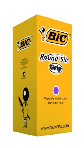 bic-round-stic-grip-medium-ballpoint-pens-purple-box-of-40