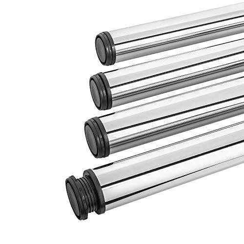 Gedotec Tischbeine Chrom Tischfüße rund Möbelfüße höhen-verstellbar | Höhe 710 mm | Ø 60 mm | Stützfüße Küche für Arbeitsplatten & Tischplatten | 4er Set - Tischfüße Metall inkl. Befestigungsmaterial