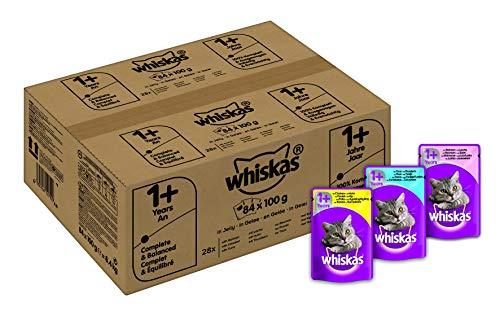 Whiskas 1 + Katzenfutter, Hochwertiges Nassfutter für gesundes Fell, Ausgewogenes Feuchtfutter in verschiedenen Geschmacksrichtungen