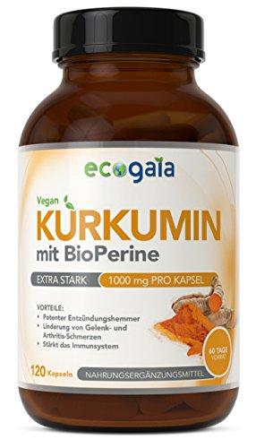 Kurkuma Curcumin mit Bioperine | 2000 mg Tagesdosis, 120 vegane Kurkumin Kapseln | Natürliche Antioxidantien