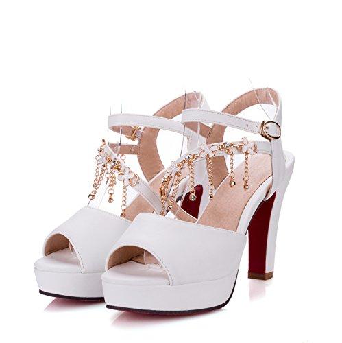 fan4zame Sandalen Damen Sommer Ferse Damen-hohe Wasser Tisch Diamant Fisch Mund Schuhe Big Yards Cool bequem atmungsaktiv Sandalen 41 white 8CM high heels