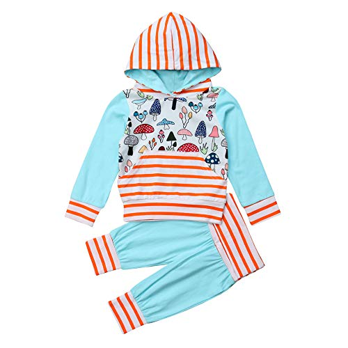 XXYsm Baby 2Pcs Outfits Kleinkind Hoodie Kinder Sweatshirt Mit Kapuze Mädchen Langarm Pilz Streifen Print Tops + Hosen Kapuzenpullover Set Hellblau ❤100/18-24 Monate