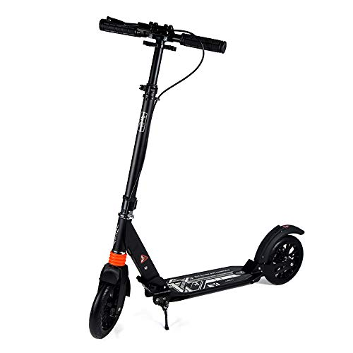 Aocean Roller Erwachsener Jugendliche & Erwachsene Faltbarer Scooter Roller Big Wheel Tretroller Cityroller mit Luftbereifung mit Doppelfederung ab 12 Jahre bis 100kg, Black