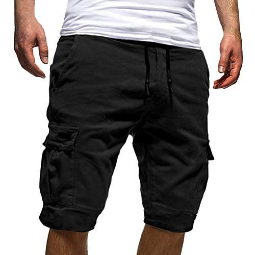 Tomwell Uomo Pantaloni Corti Bermuda Cargo Pantaloncini Uomo Cotone Lavoro Pantaloni Tasconi con Elastico Pantofole Estive Casual Pantaloncino Sportivi Nero X-Large