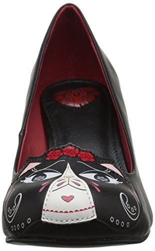 T.u.k. Day Of The Dead Kitty Patch, Damen Knöchelriemchen Pumps Schwarz (Black)