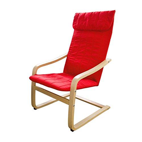 SoBuy® Schwingstuhl,Schaukelstuhl,Relaxstuhl,Relaxsessel FST17-R (Rot)