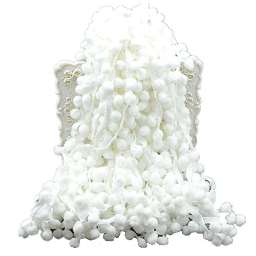60ft Pom Poms Fransen Ball Trim Nähen Ribbon Stickerei Spitze Quaste Aufnäher für kleidung Zubehör Kissen Betten Quilting Crafts Supplies 2.5cm x 180cm weiß -