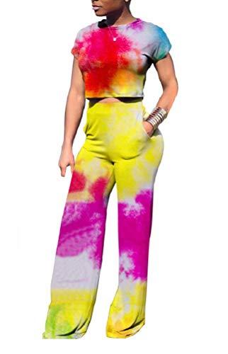 DINGANG Damen Zweiteiliger Strampler Sexy Bandeau Tube Top Flared Bell Bottom Pants Jumpsuits Outfits Übergröße - Rot - XX-Large Bell-bottom-jumpsuit