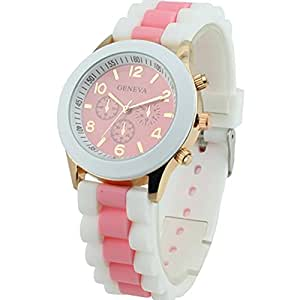 Women's Geneva Silicone Band Jelly Gel Quartz Wrist Watch Pink