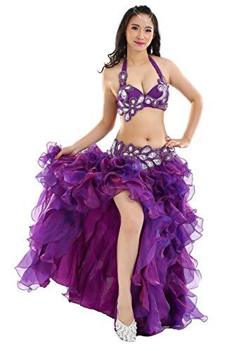 Insun Damen Bauchtanz Kostüme Tanzkostüm Bauchtanzanzüge BH Gürtel 3 Teiliges Set Violett M - Bauchtanz Tribal Fusion Kostüm