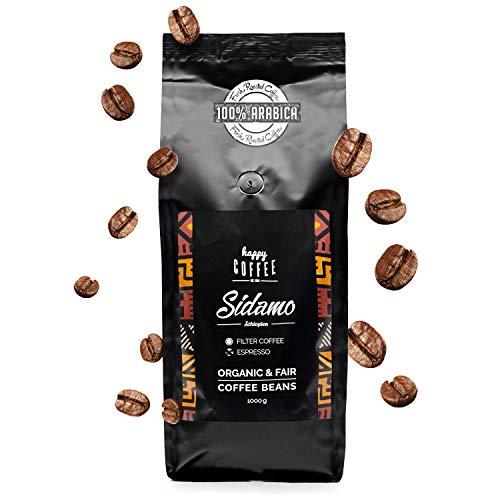 HAPPY COFFEE Sidamo Espresso Bohnen 1KG - Frisch geröstet - ganze Bohne - Premium Bio-Kaffee aus Äthiopien für Siebträger und Vollautomat (1 KG)