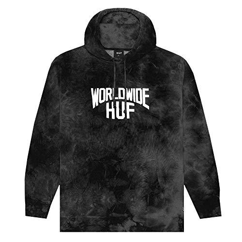 HUF Herren Kapuzenpullover Worldwide Manhattan Hoodie (BK) - schwarz - X-Groß